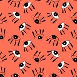 与逗人喜爱的动画片眼睛的无缝的样式在抽象样式 向量例证