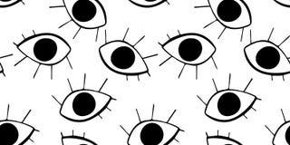 与逗人喜爱的动画片眼睛的无缝的样式在抽象样式 眼珠黑图表drawnig与睫毛的在白色背景 皇族释放例证