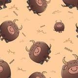 与逗人喜爱的动画片肥胖严重公牛的传染媒介无缝的样式 r 厚实的可笑的野兽 在米黄背景的纹理 库存例证