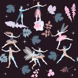 与逗人喜爱的动画片跳芭蕾舞者,神仙和矮子的无缝的不可思议的样式,隔绝在黑背景 美丽的花 皇族释放例证