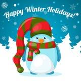 与逗人喜爱的动画片企鹅的圣诞卡 免版税库存照片