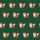 与逗人喜爱的动画片狐狸的传染媒介无缝的样式 向量例证