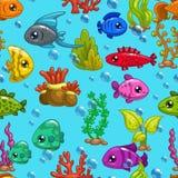 与逗人喜爱的动画片鱼的无缝的样式 免版税库存照片