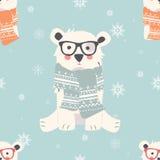 与逗人喜爱的北极熊动物的无缝的圣诞快乐样式 向量例证