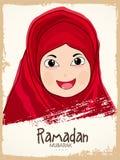 与逗人喜爱的回教女孩的伊斯兰教的圣洁月赖买丹月Kareem庆祝 库存照片