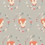 与逗人喜爱的圣诞节小狐狸的无缝的样式围拢与fl 向量例证