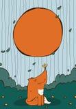 与逗人喜爱的坐的姜狐狸的垂直的例证与在鼻子的黄色蝴蝶 库存图片