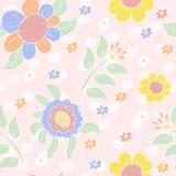 与逗人喜爱的多彩多姿的花的无缝的样式 向量背景 免版税库存图片