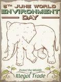 与逗人喜爱的大象世界环境日的,传染媒介例证的减速火箭的海报 皇族释放例证