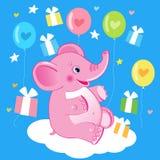 与逗人喜爱的大象的生日快乐卡片 也corel凹道例证向量 免版税库存照片