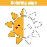 与逗人喜爱的太阳字符的着色页 教育比赛,可印的图画哄骗活动 库存照片