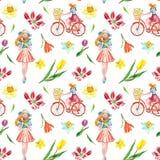 与逗人喜爱的女孩和五颜六色的花的水彩春天自行车乘驾无缝的样式在白色背景 向量例证