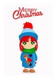 与逗人喜爱的女孩的圣诞快乐卡片 免版税库存照片