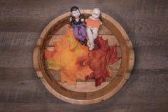 与逗人喜爱的妈咪和吸血鬼篮子的欢迎秋天  免版税库存图片