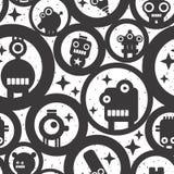 与逗人喜爱的妖怪、机器人和圈子的不尽的墙纸 免版税库存照片
