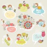 与逗人喜爱的字符的花卉集合框架 图库摄影