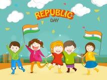 与逗人喜爱的孩子的印地安共和国天庆祝 向量例证