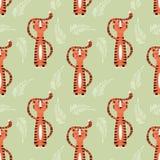 与逗人喜爱的密林桔子老虎的无缝的样式 皇族释放例证