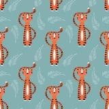 与逗人喜爱的密林橙色老虎的无缝的样式在蓝色背景 向量例证