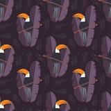 与逗人喜爱的密林鹦鹉的无缝的样式toucan在紫色 向量例证