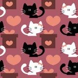 与逗人喜爱的小猫的无缝的样式 免版税图库摄影