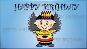与逗人喜爱的小男孩的生日快乐卡片 向量例证