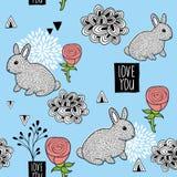 与逗人喜爱的小的兔宝宝和桃红色玫瑰的无缝的样式 也corel凹道例证向量 库存图片