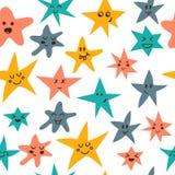 与逗人喜爱的小的星的无缝的样式 免版税图库摄影