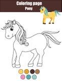 与逗人喜爱的小马,马的着色页 教育比赛,画的孩子活动 库存图片