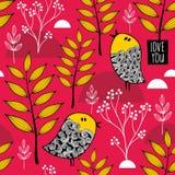 与逗人喜爱的小鸟的浪漫墙纸在秋天背景 库存图片