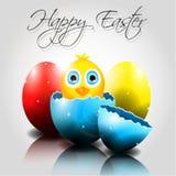 与逗人喜爱的小鸡的传染媒介愉快的复活节彩蛋在鸡蛋 免版税库存图片