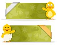 与逗人喜爱的小鸡的复活节横幅 免版税图库摄影