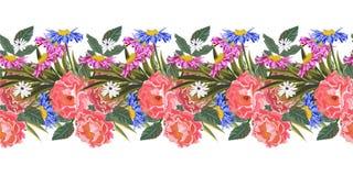 与逗人喜爱的庭院花的无缝的水平的边界 库存照片