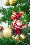 与逗人喜爱的微小的矮小的圣诞老人的圣诞树 免版税图库摄影