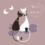 与逗人喜爱的恋人猫的传染媒介例证 库存照片