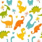 与逗人喜爱的恐龙的明亮的无缝的样式 皇族释放例证