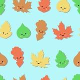 与逗人喜爱的情感秋叶的无缝的森林样式 秋天背景 传染媒介墙纸 无缝的模式 向量例证