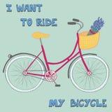 与逗人喜爱的手拉的城市自行车的海报 库存图片