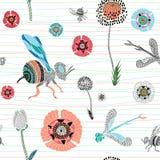 与逗人喜爱的手拉的蜂,蜻蜓的无缝的传染媒介样式和 皇族释放例证