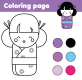 与逗人喜爱的日本kokeshi玩偶的着色页 儿童教育比赛,画的活动 图库摄影