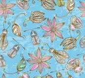 与逗人喜爱的昆虫的无缝的grunge背景 免版税库存图片