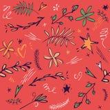 与逗人喜爱的星,叶子,花,乱画的婴孩无缝的样式背景担任主角 乱画手拉的例证 红色 库存例证