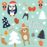 与逗人喜爱的树的圣诞卡、手套和圣诞节玩具、企鹅在冬天盖帽有礼物的和跳舞负担 向量 库存照片