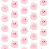 与逗人喜爱的桃红色猪面孔的无缝的样式 男孩动画片不满意的例证少许向量 库存照片
