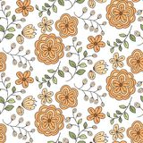 与逗人喜爱的橙色植物群的无缝的样式 库存图片