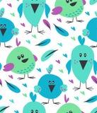 与逗人喜爱的滑稽的鸟的传染媒介无缝的样式 免版税库存照片