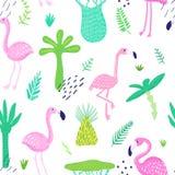 与逗人喜爱的火鸟和棕榈叶的热带无缝的样式 墙纸的,织品幼稚夏天背景 皇族释放例证