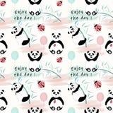 与逗人喜爱的熊猫和竹子的无缝的样式在白色背景 向量例证