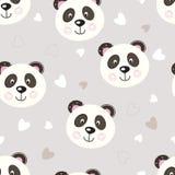 与逗人喜爱的熊猫的无缝的样式 库存例证