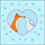 与逗人喜爱的狐狸和兔子股票的爱愉快的情人节卡片 免版税库存图片